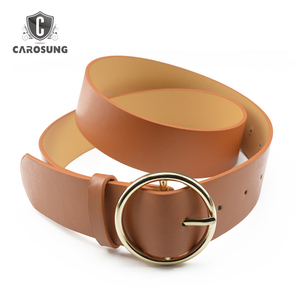 Wholesale 35mm Camel PU Leather Belt Handmade leather belt for women belt Gold