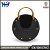 New popular style round ligt gold handle ladies's leather hand bag fashion phone bag small women handbag