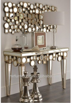 Sculpture Wooden Mirrored Console Table With Wall Mirror Furniture