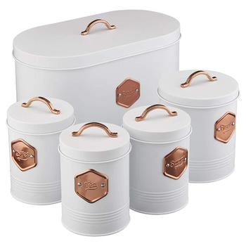 Kitchen Storage Canister Set 5 Piece Tin Containers for Tea, Coffee, Sugar,  Biscuits & Bread with Copper Detailing, View high quality Kitchen Storage  ...