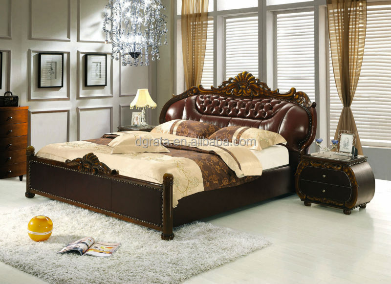 2014 Modern Simple Leather Bed Was Made From Solid Wood Frame And Genuine  Leather For The