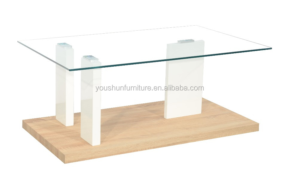 Living room furniture, glass top wood base coffee table, MDF with white high gloss and oak paper