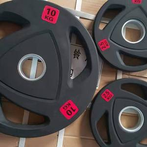 Rubber Coated three handles bumper Weight Plates / fitness equipment