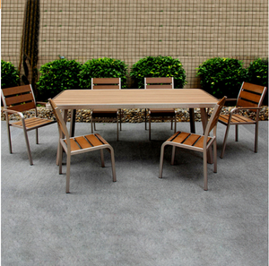 Solid reputation metal brushed aluminum dining Furniture Garden Patio teak wood dining table Set outdoor table and chairs