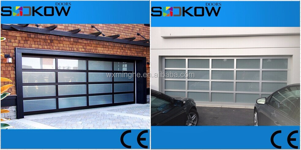 9x7 aluminum frame tempered glass sectional garage door