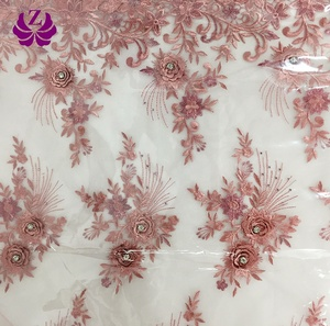 high quality new arrival manufacturer elegant latest guipure 3d floral lace fabric embroidery with bead and pearl