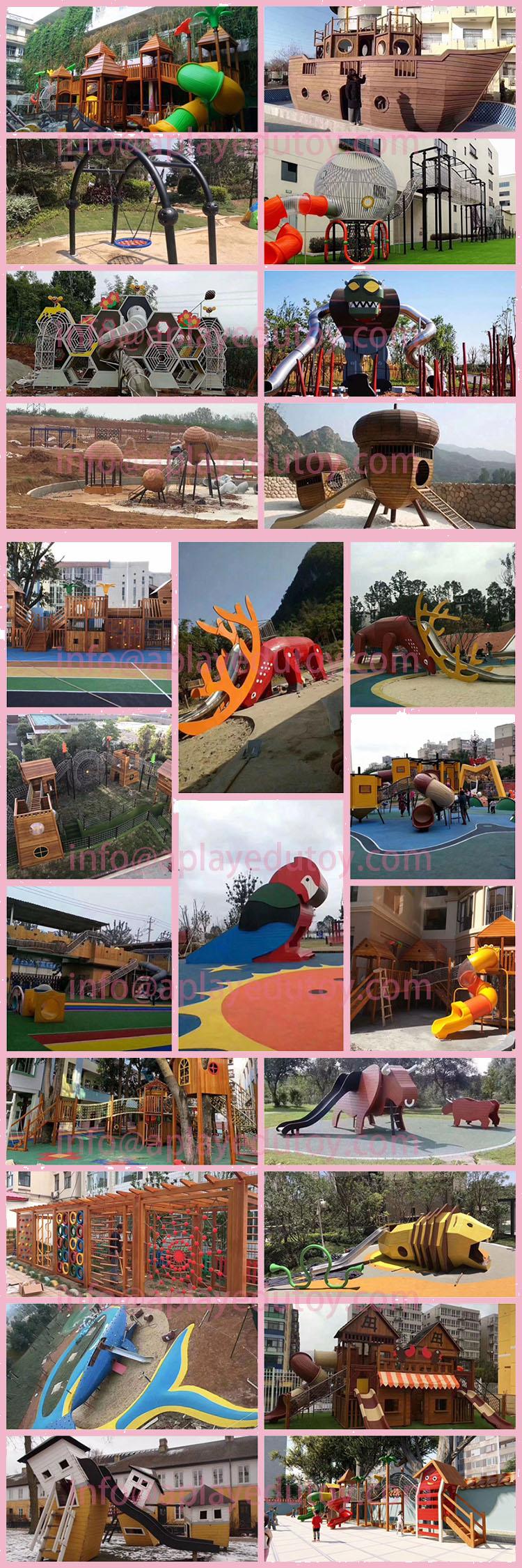 Outdoor hoge building freak houten vreemde speelhuis met lange grote roestvrij buis slide gratis ontwerp
