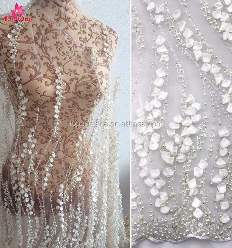 Wonderbaar Couture Geborduurde Witte Kralen Stof Borduren Kant 3d Kant Stof MZ-78