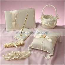 Delicate bowknot design satin wedding guest book wedding decoration