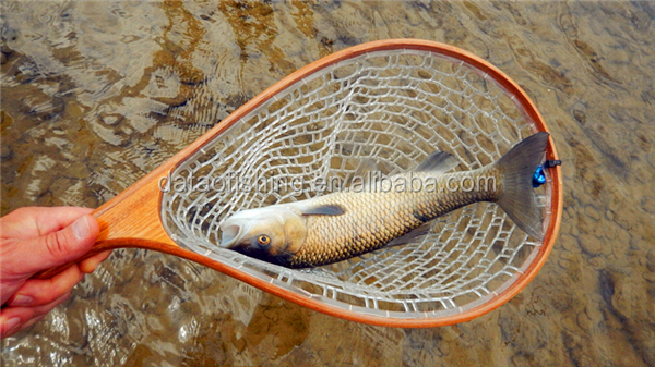 Classic wooden trout fly fishing small fish landing net for Small fishing net
