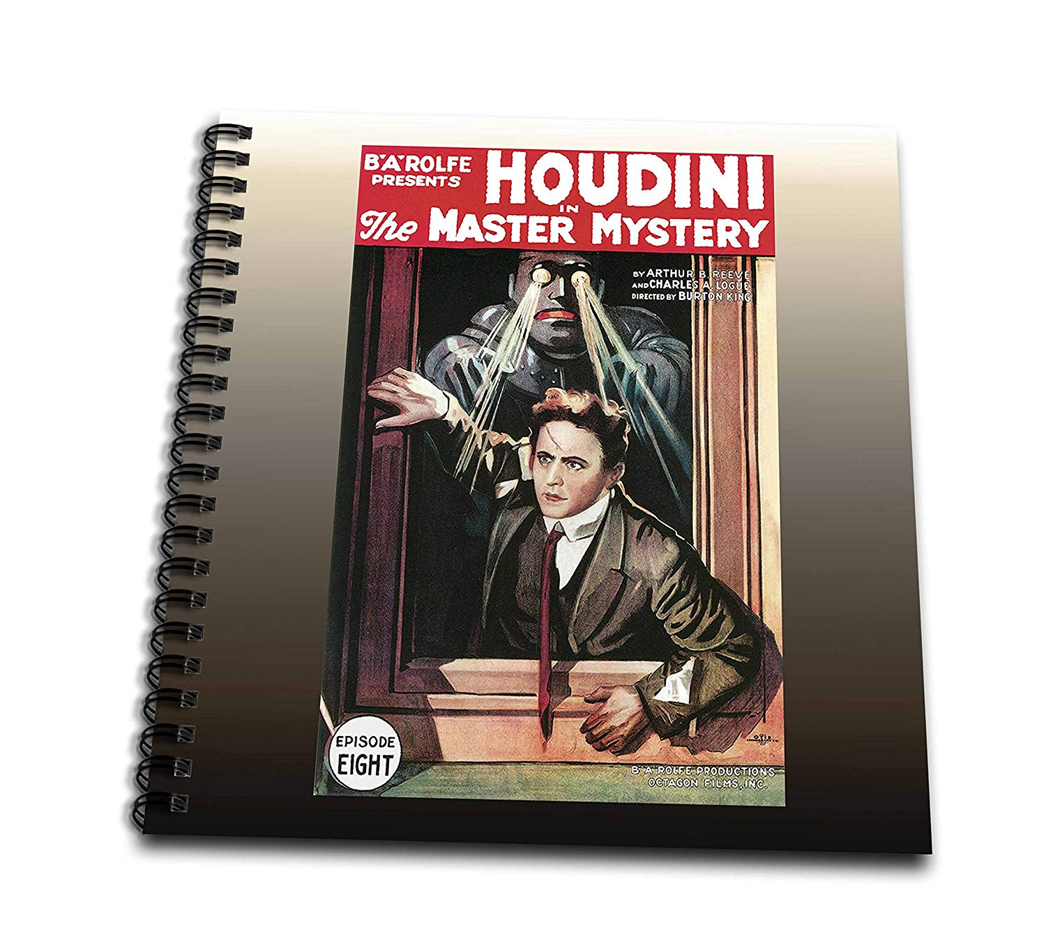 3dRose db_114148_2 Vintage Houdini in The Master Mystery Episode Eight Advertising Poster-Memory Book, 12 by 12-Inch