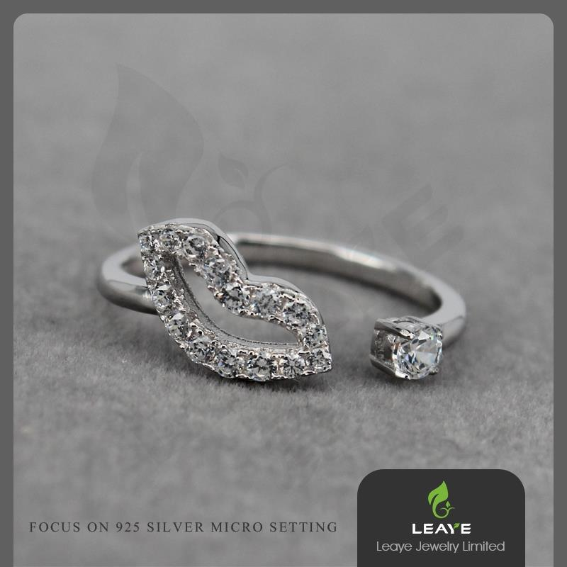 Fashion Lip Shape White CZ 925 Sterling Silver Plated Rings