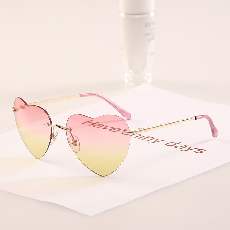 Super Nice Cool Fashion Heart Shape Sunglasses 2015 New women Cool Eyewear No frame Metal Leg glasses Oculos De Sol J152 NEW
