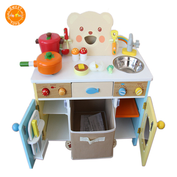 Wood Kitchen Play Set For Kids Cooking