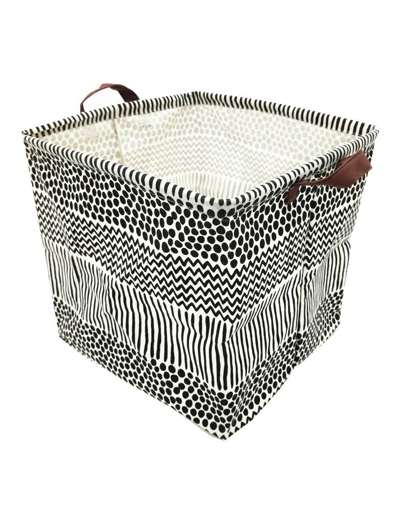 Get Quotations · Songsongstore 13 Inch Waterproof Coating Canvas Basket  Square Canvas Toy Storage Bins Basket With Handle Collapsible