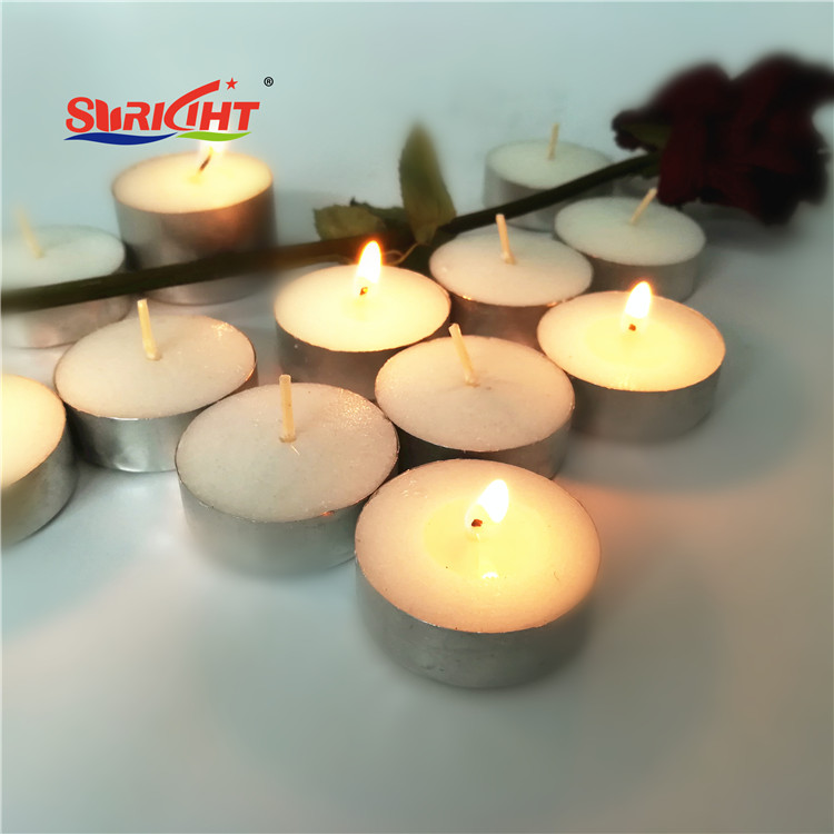 Unscented Cotton Wick 4H Tealight Candles in Metal Cups