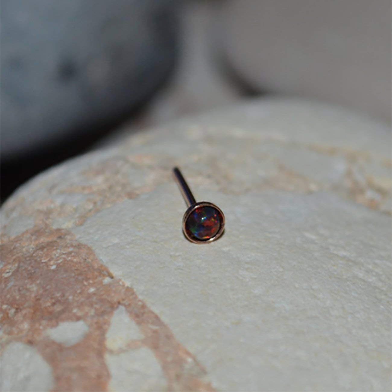 855dfe7e6 Get Quotations · 3mm Black-Red Opal TRAGUS STUD // Gold Nose Stud - Tragus Earring  Stud