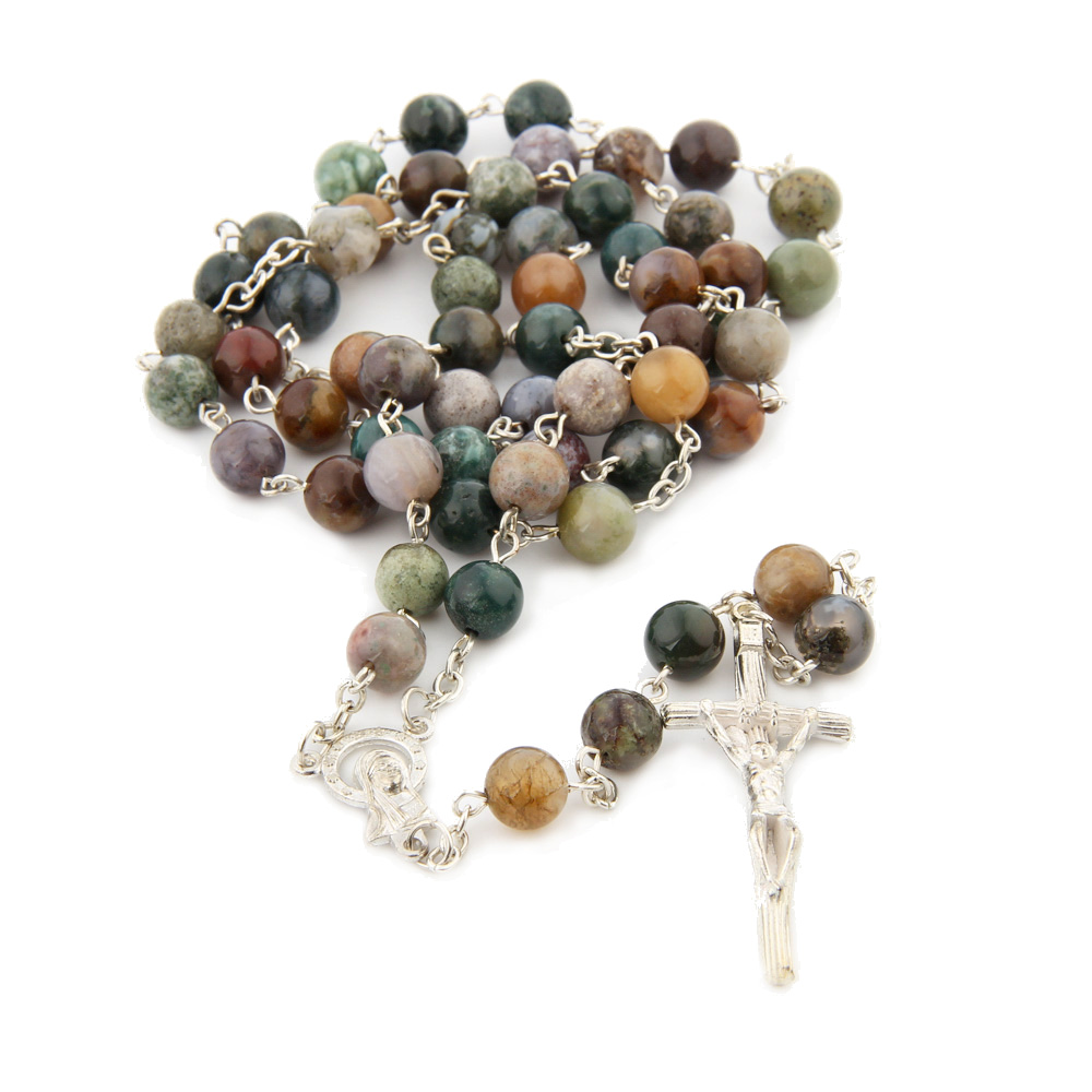 Religious Catholic India Agate 8MM Prayer Beads Bless Rosary Necklace Silver Cross