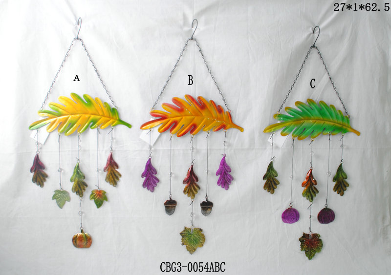 Handmade Wrought Iron Art Hanging Colorful Leaves Wind Chimes Decoration