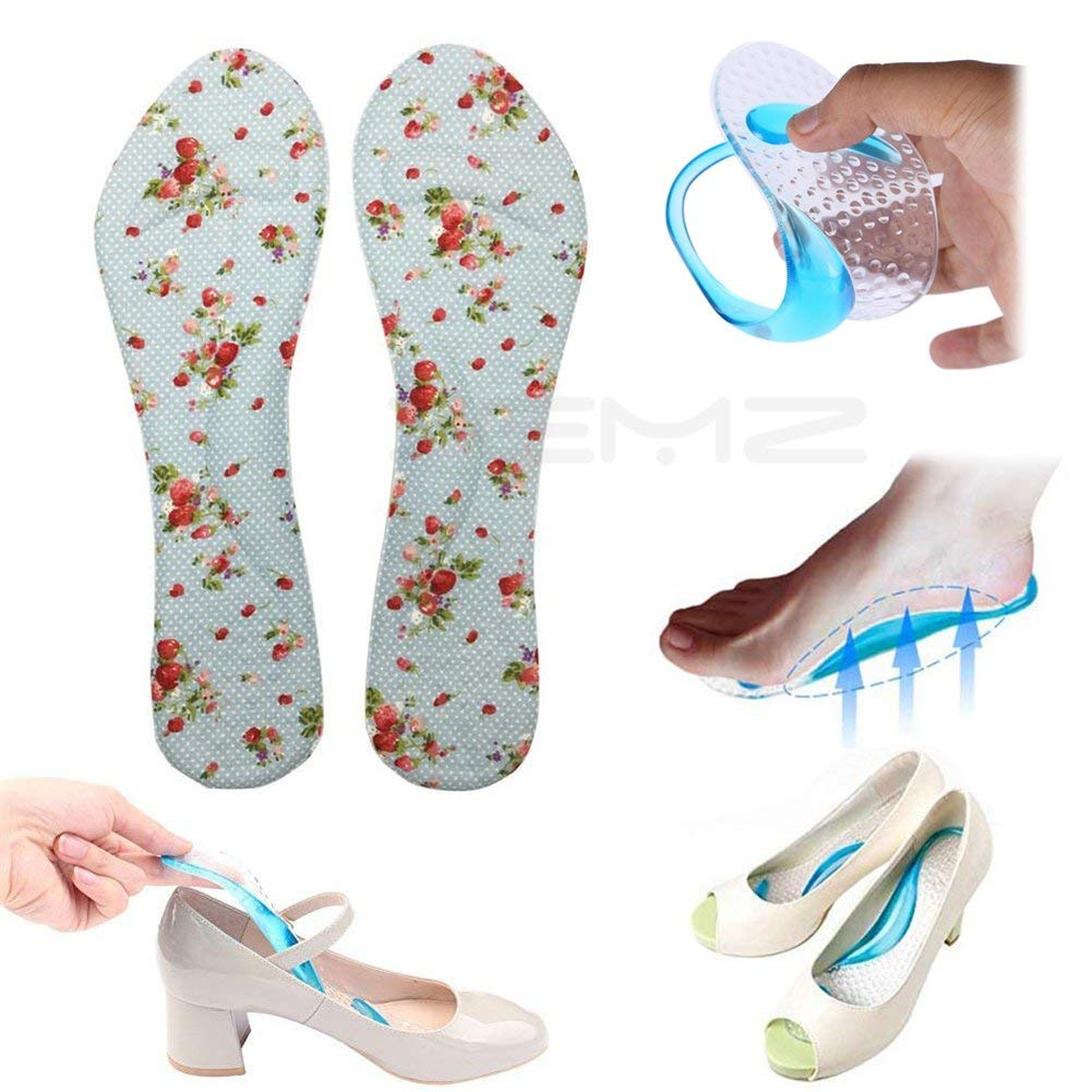 3ad333bf77 Get Quotations · 3/4 Gel Foot Shock Absorption Insoles, Arch Support Sport  Orthotic Pad, High