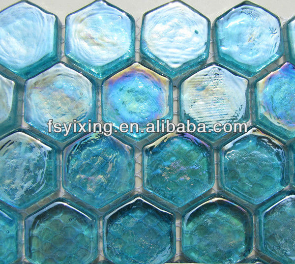 Mh09 Hexagonal Tile Floor Blue Glass Mosaic For Wall Background ...