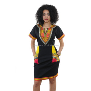 Plus size 3XL short sleeve traditional tribal print african dashiki dress for women