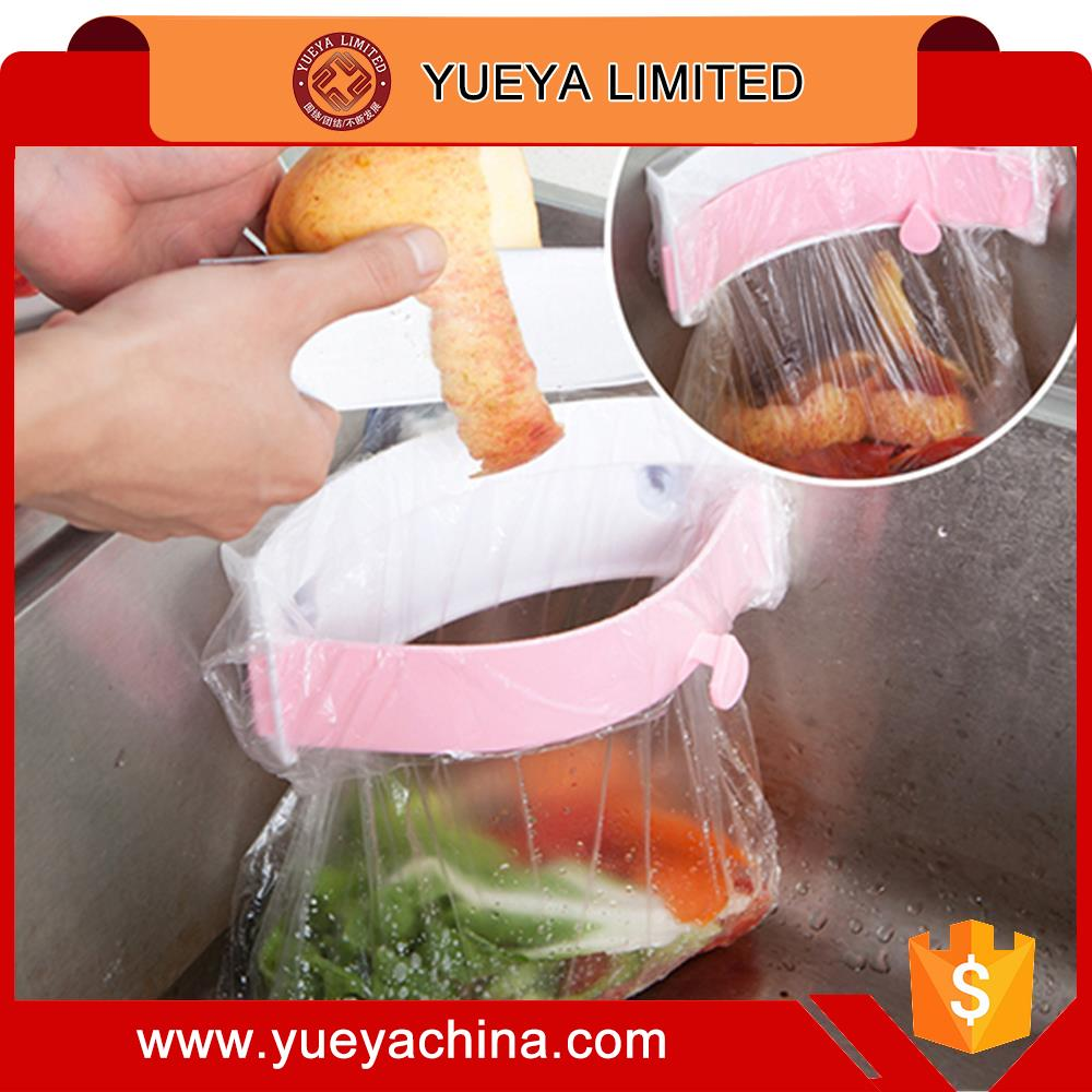 3 suction cups kitchen sink garbage bag rack with clip pink