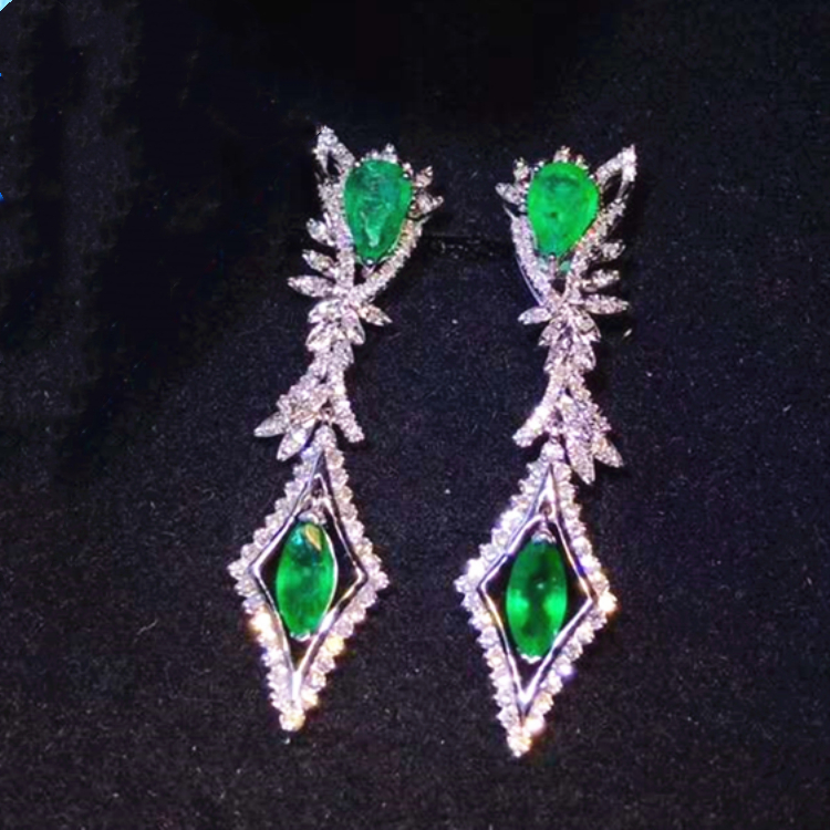 gemstone diamond jewelry 18k <strong>gold</strong> South Africa real diamond natural emerald drop <strong>earrings</strong> for women