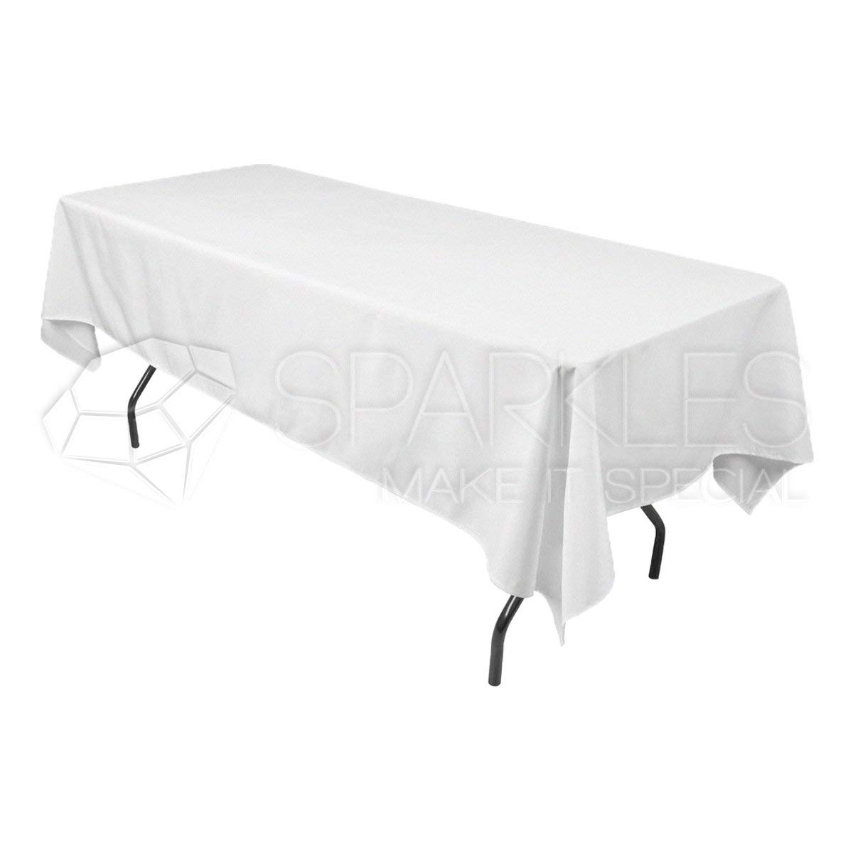 """Sparkles Make It Special 5-pcs 60"""" x 102"""" Inch Rectangular Polyester Cloth Fabric Linen Tablecloth - Wedding Reception Restaurant Banquet Party - Machine Washable - White"""