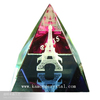 Engraved K9 3d laser crystal pyramid with Eiffel Tower