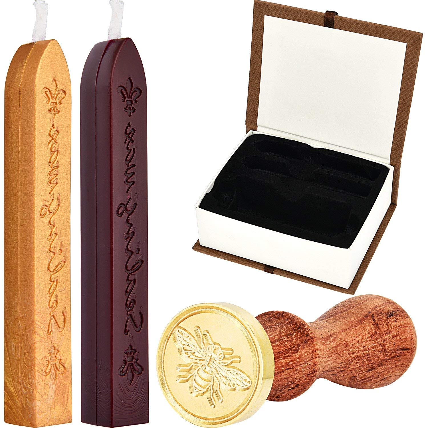 Hestya Bee Wax Seal Stamp Kit, Removable Wooden Handle Vintage Retro Brass Head Sealing Stamp and 2 Pieces Sealing Wax Sticks with Wick (Rosy Red and Gold) Gift Box Set