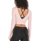 Custom Women Activewear Deep V Back Fitness Yoga Long Sleeve Sport Crop Top T Shirt
