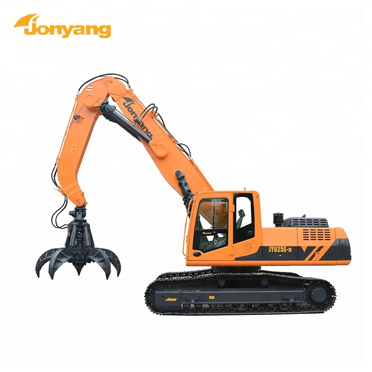 Construction excavator material handling machine