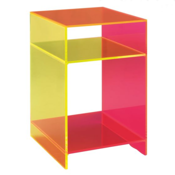 Two Layer Colorful Neon Acrylic Side Table Plexiglass Furniture