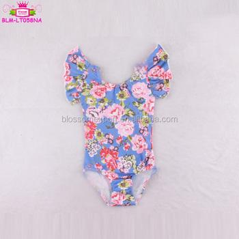 4f0c00c0537c Baby Clothes Fall Blue Floral Toddler Leotard Flutter Sleeve ...