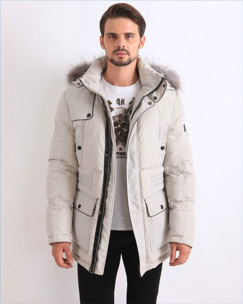 Winter Feather Down Filled Coat White Parka Fur Hooded For Men