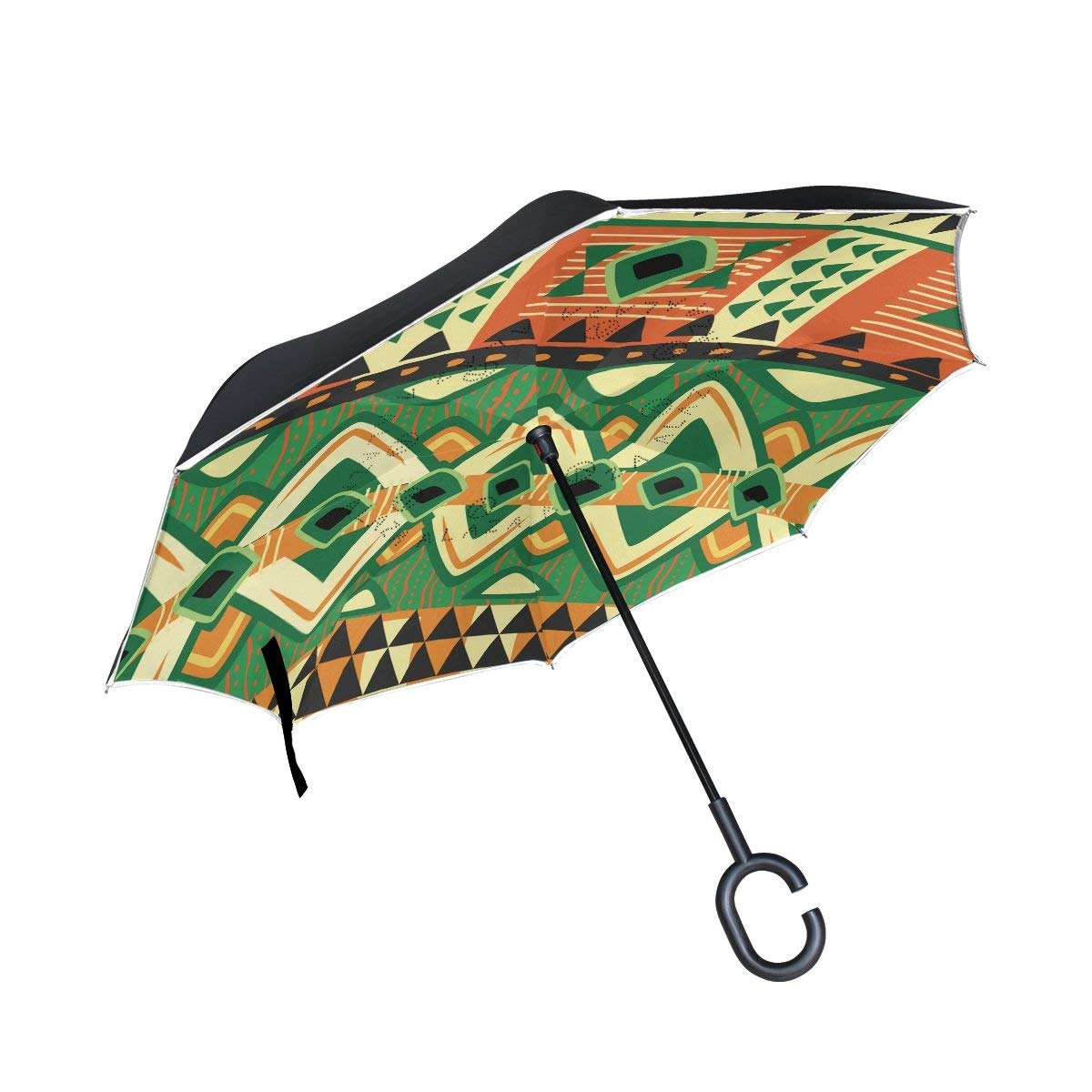 FOLPPLY Inverted Umbrella Vintage Ethnic Boho Geometric Print,Double Layer Reverse Umbrella Waterproof for Car Rain Outdoor with C-Shaped Handle