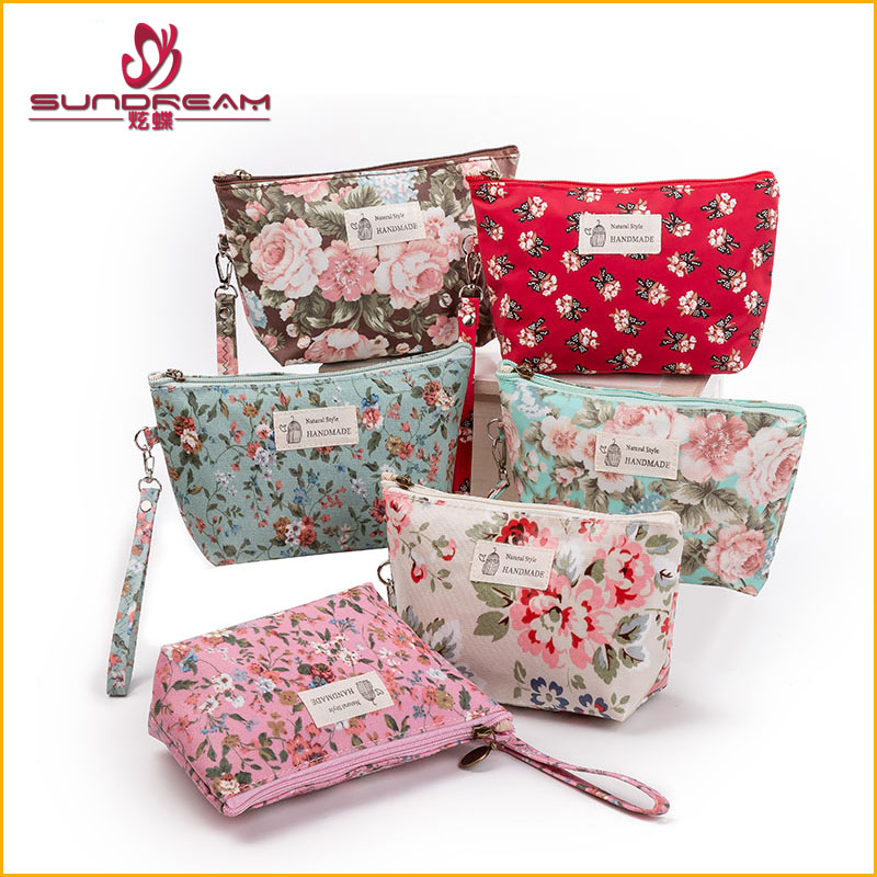 CUSTOM New Vintage Floral Printed Cosmetic Bag Women Makeup Bags Female Zipper Cosmetics Bag Portable Travel Make Up Pouch