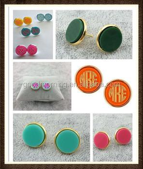 Monogram Blank Acrylic Stud Earrings