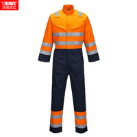 mix two colors hi vis coveralls reflective coveralls waterproof fr coveralls for outdoor working clothing