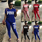 Hot Fashion S-3XL Pink Letter Outfits Women 2pcs Tracksuits Sportswear jogging suits women