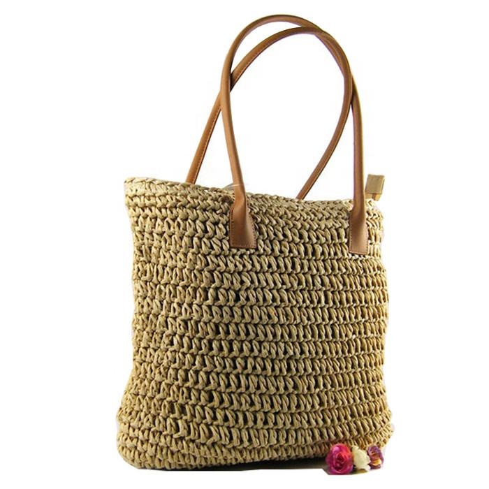 Bolso de mano de paja para mujer, de ratán, de verano, de mimbre, para playa, hombro