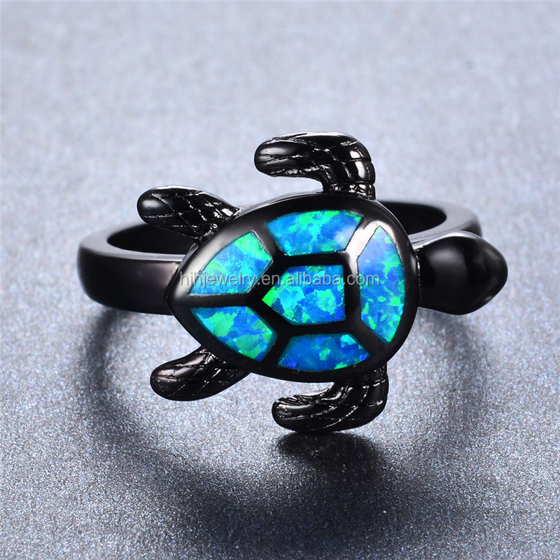 Natural Blue Fire Opal Stone tortoise finger Ring 925 Sterling Silver rings