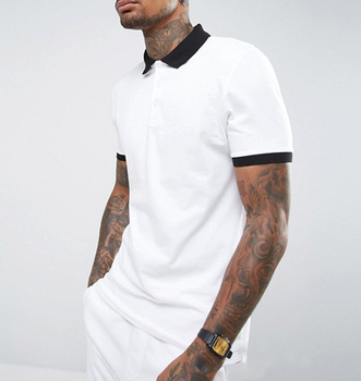 High Quality Muscle Fit 100% Pique Cotton White Polo Shirt For Men With Contrast Rib And Cuff
