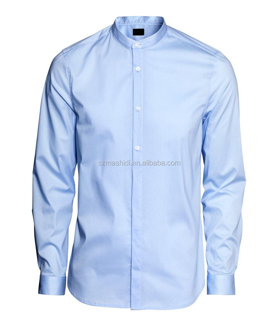 Shirt design for man 2016 - 2014 Latest Style Mandrin Collar Designs Men Plain Formal Shirts Pattern