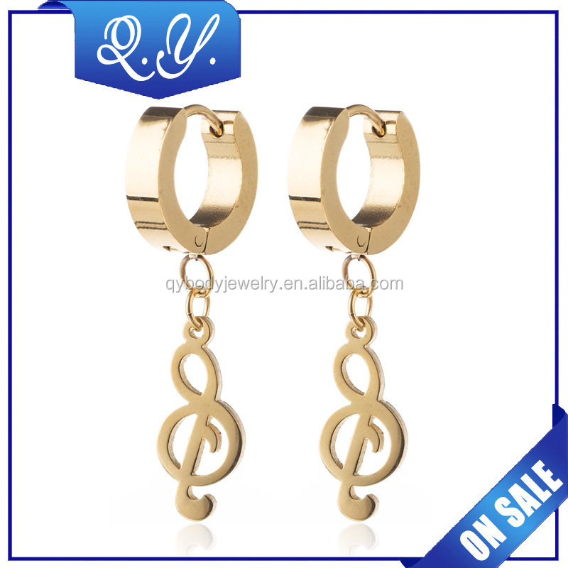 Fake Gold Jewelry Music Note Design Dangle Ear Rings