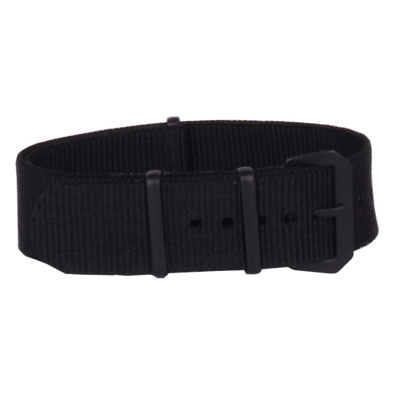 New 2015 Black Watchbands 20mm Nato Fabric Nylon Watch Watchbands Woven Straps Bands Black Buckle Belt