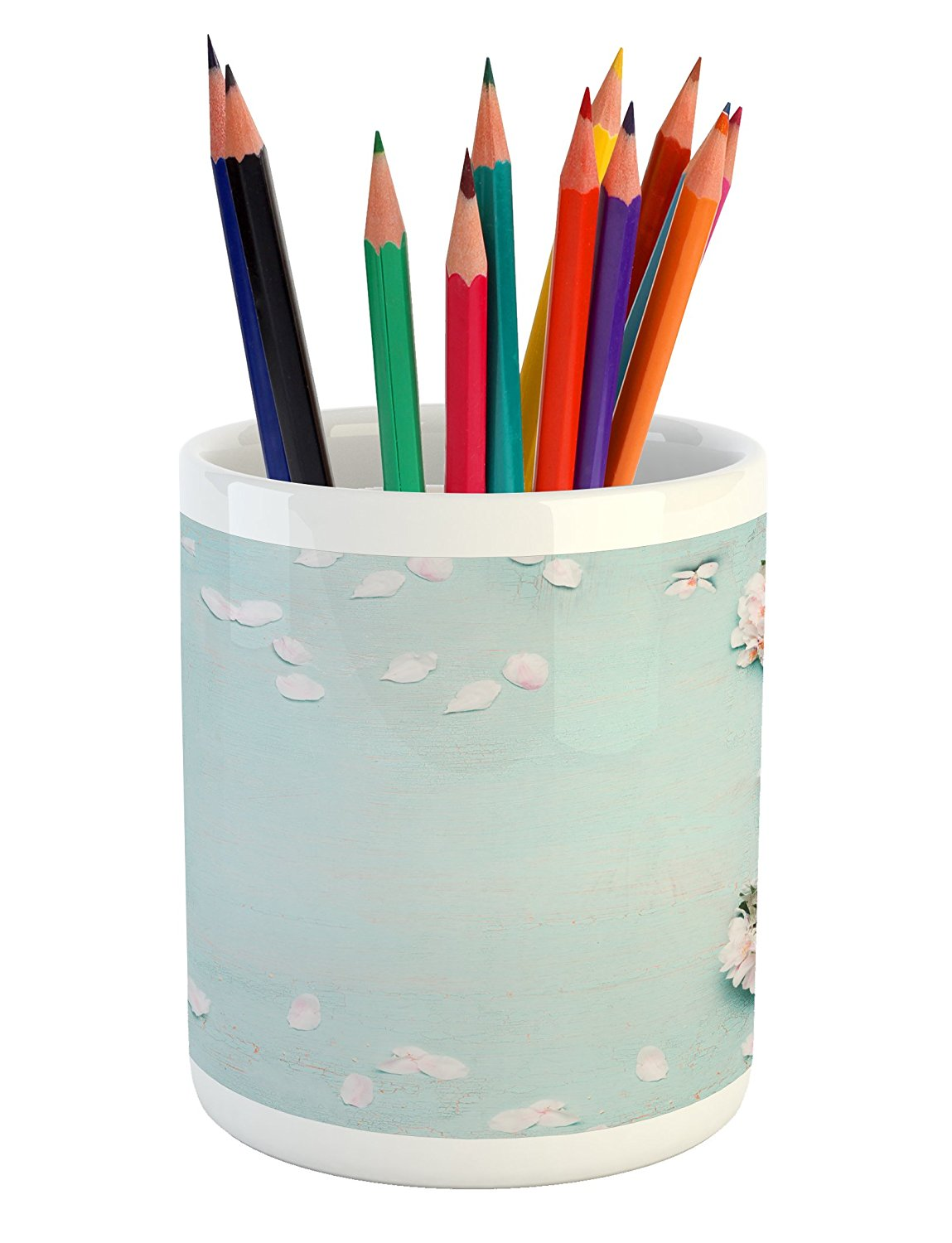 Spring Pencil Pen Holder by Lunarable, Seasonal Blossoming Pastel Toned Japanese Cherry Flowers on Worn Out Grunge Surface, Printed Ceramic Pencil Pen Holder for Desk Office Accessory, Multicolor