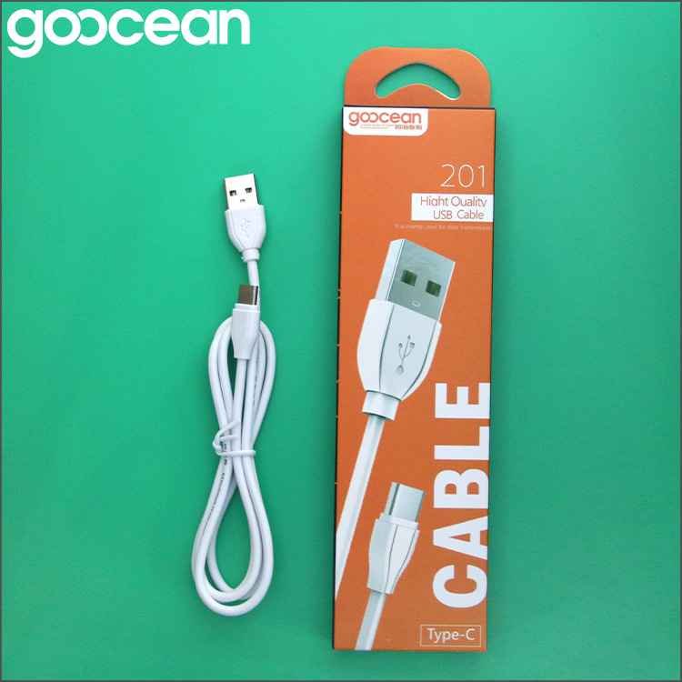 Goocean 1m white type c data cable 1.2A charger for phone