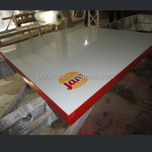 Modern design pre cut rectangular white artificial granite dining table top